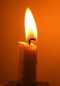 A single candle flame